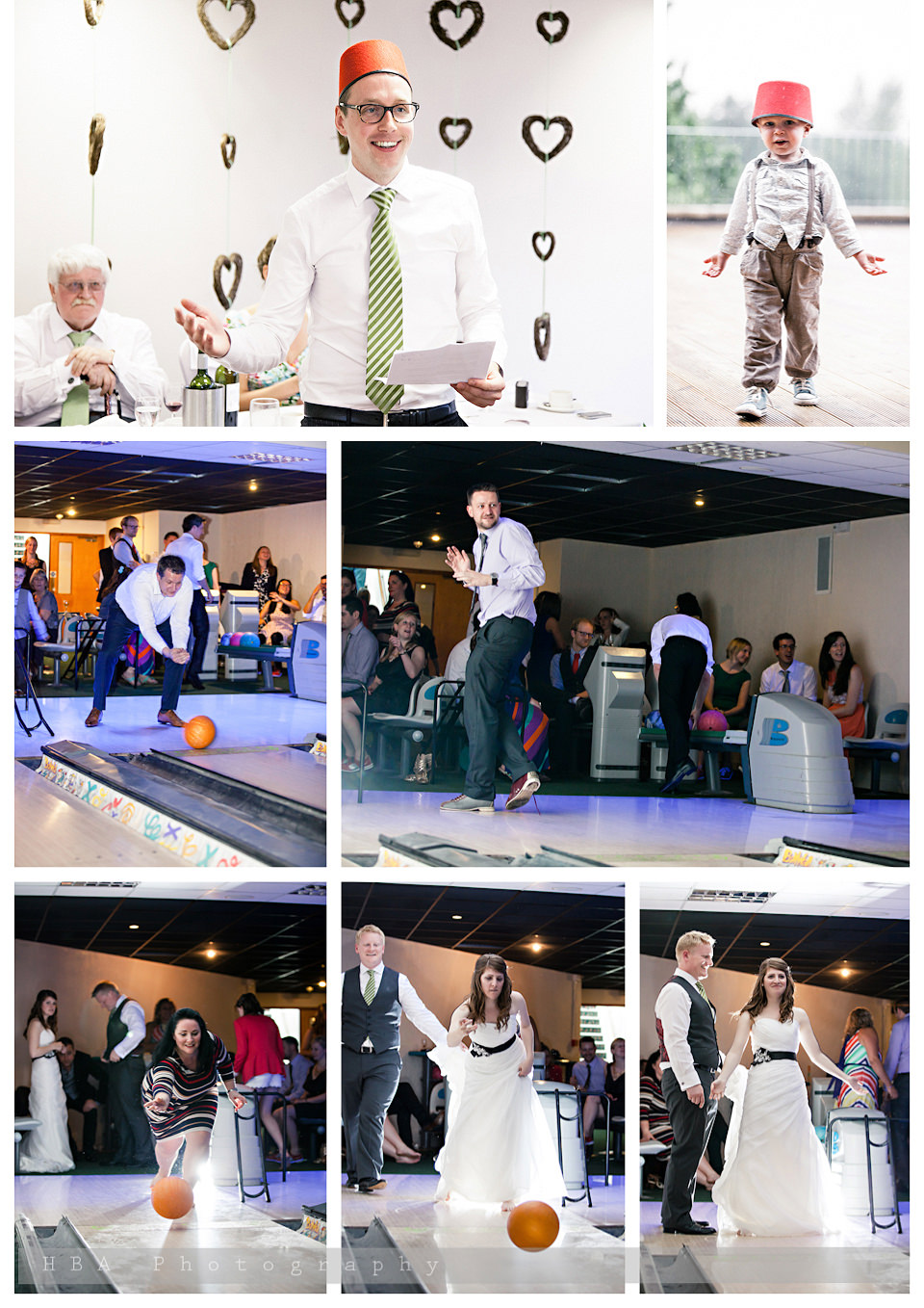 The wedding of Josey & Sam at Hellidon Lakes Golf & Spa Hotel, by contemporary Derbyshire photographers HBA Photography. Bowling after dinner