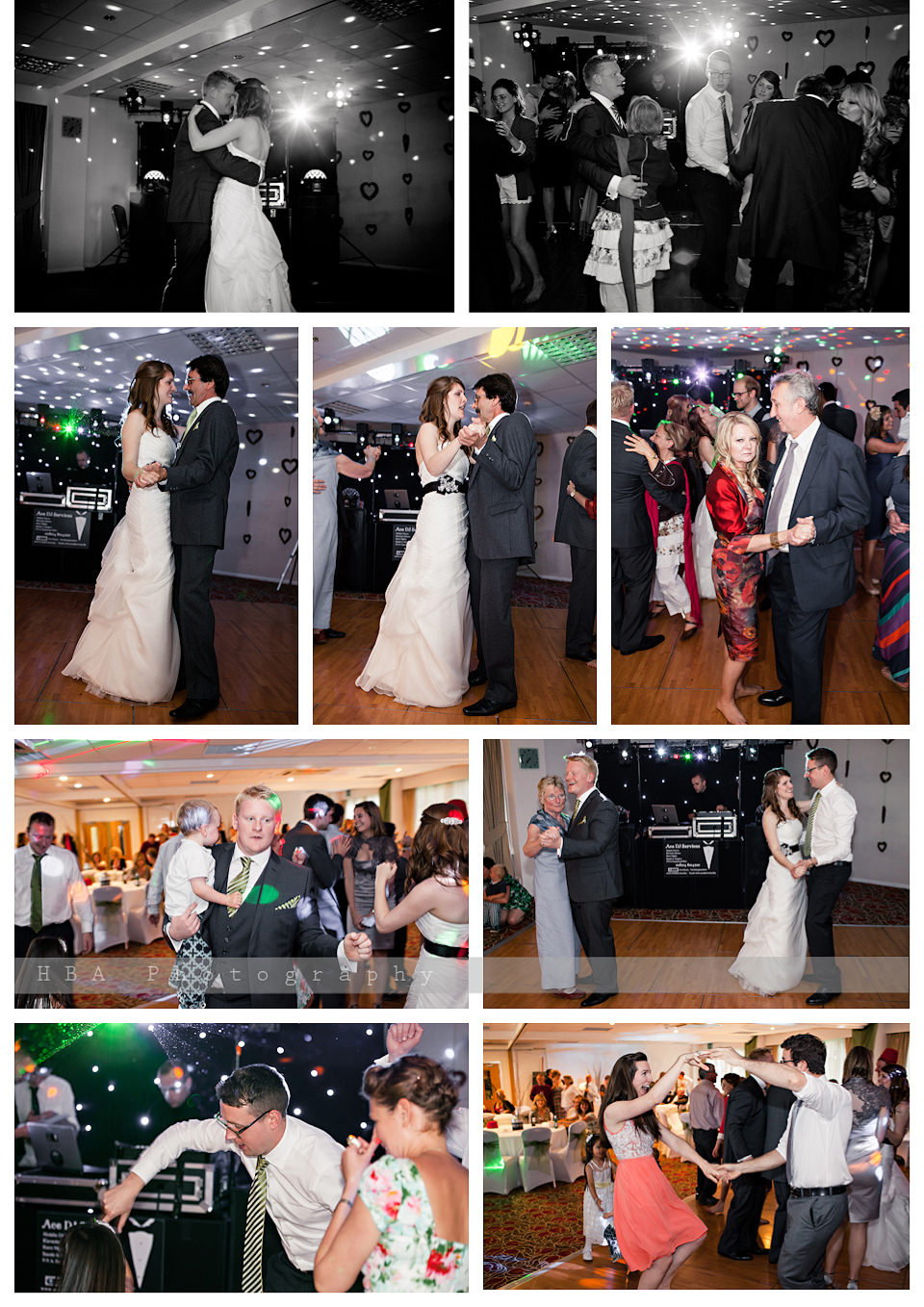The wedding of Josey & Sam at Hellidon Lakes Golf & Spa Hotel, by contemporary Derbyshire photographers HBA Photography. The evening's dancing