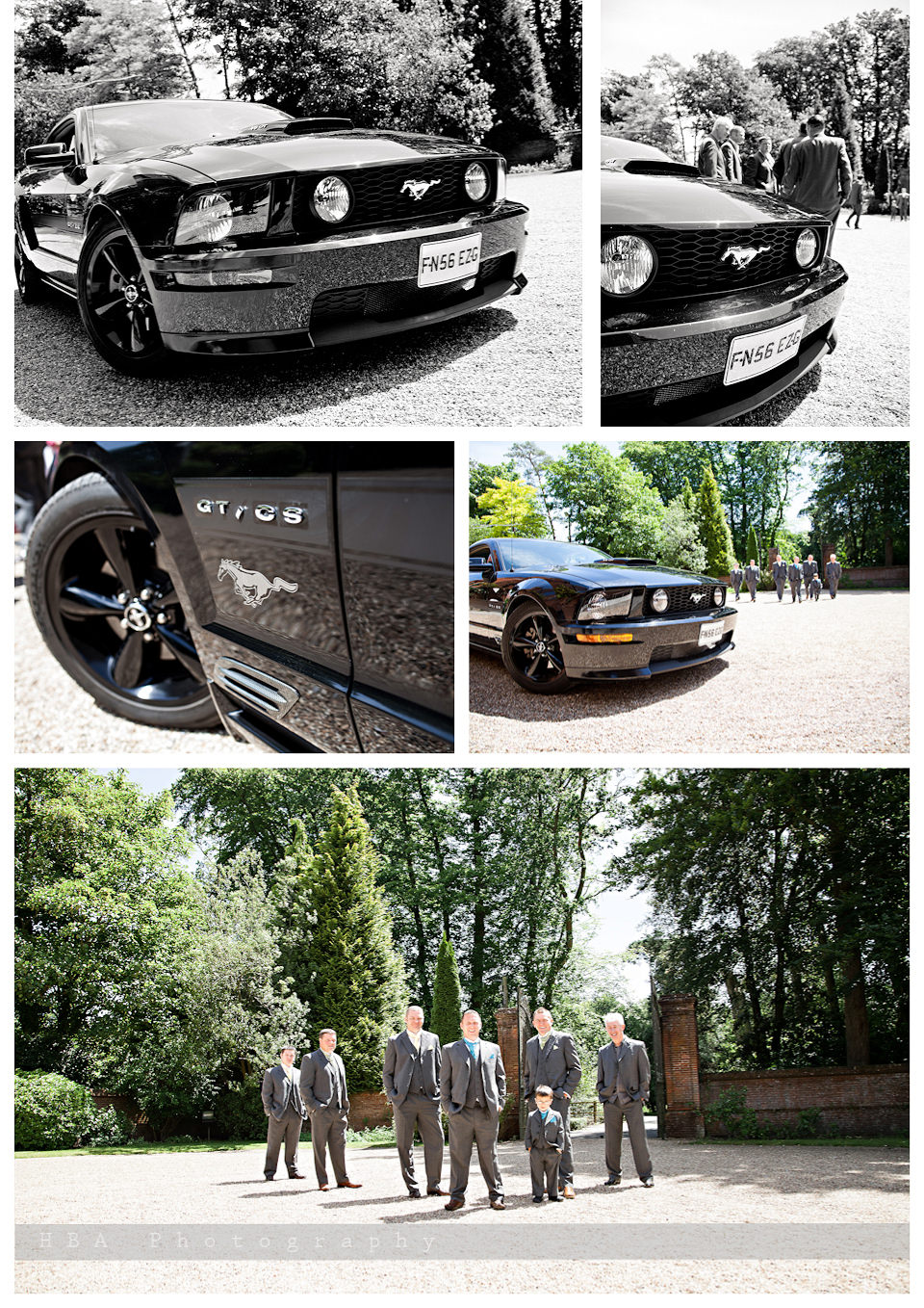 The wedding of Sam & Alan at New Place, Southampton. By contemporary photographers HBA Photography. The guys before the ceremony with their beautiful Mustang