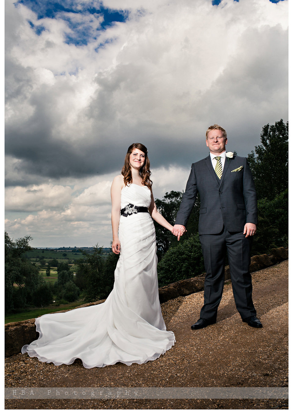 The wedding of Josey & Sam at Hellidon Lakes Golf & Spa Hotel, by contemporary Derbyshire photographers HBA Photography. Photos of the couple in the grounds