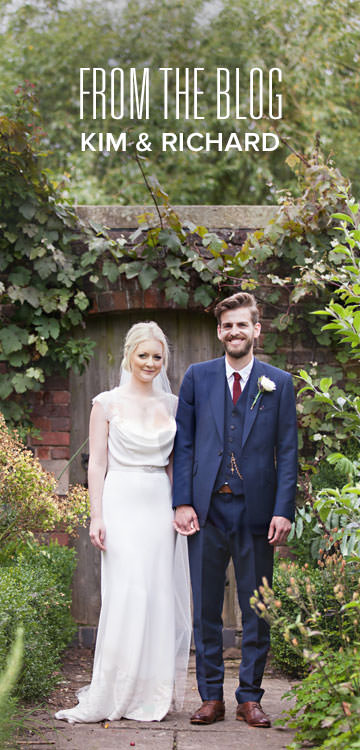 The bride and groom stood together looking at the camera at Pimhill Barn