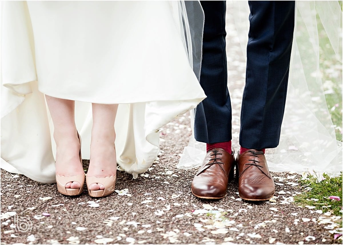 the bride and grooms wedding shoes