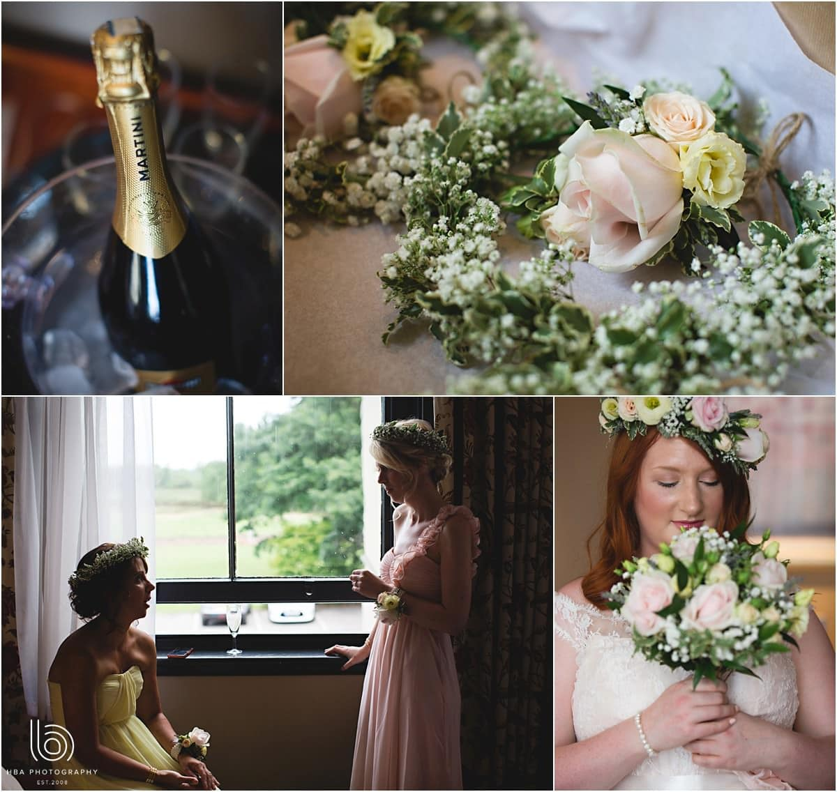 photos of wedding details - pastel flowers and bubbly