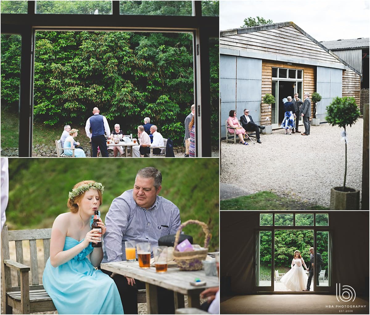 photos of all the guests enjoying the sunshine on the wedding day before the wedding breakfast