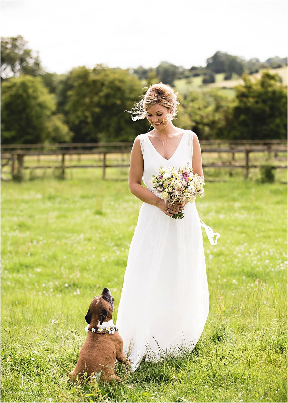 the bride and her dog in a meadow