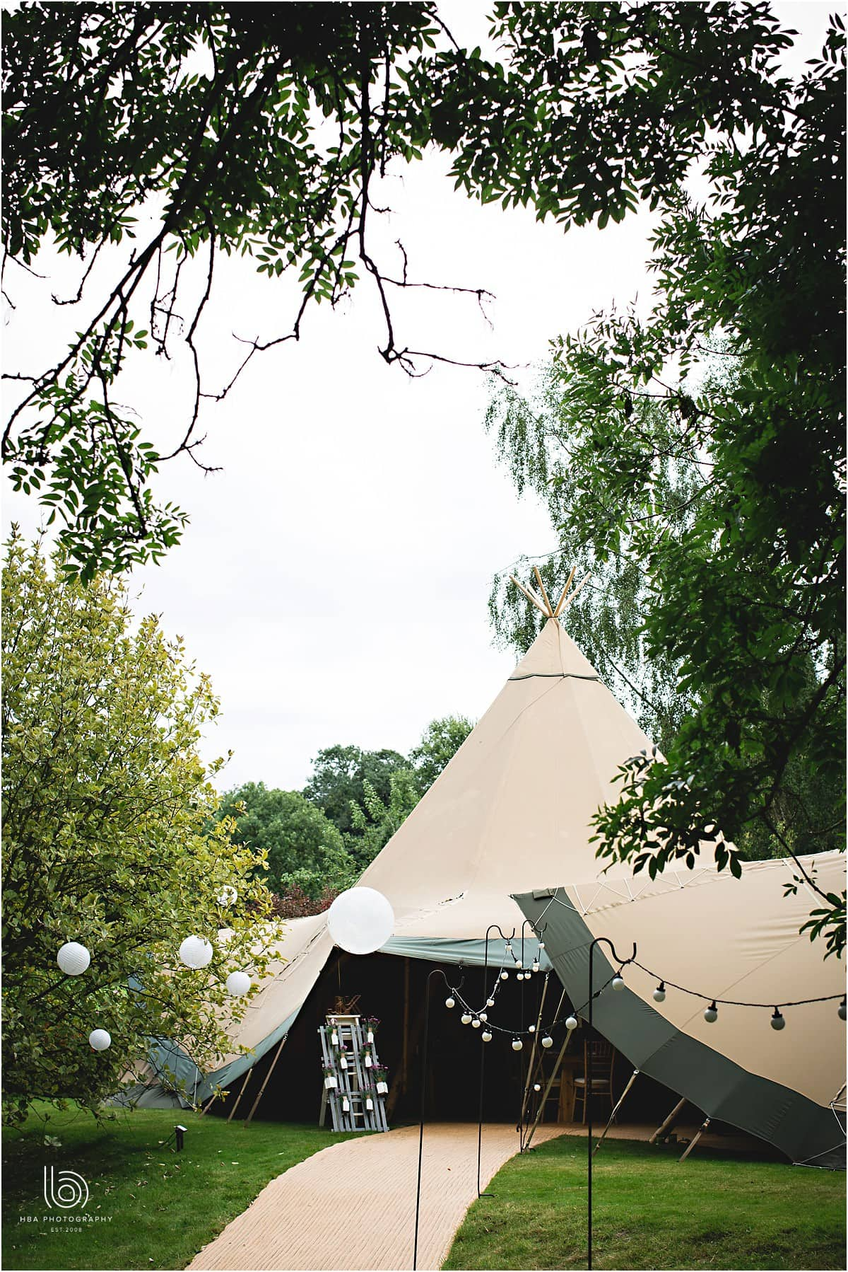 the tipi in a Derbyshire garden