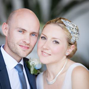 A bride and groom portrait photo
