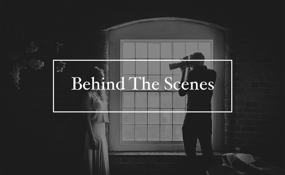 black and white photos showing working behind the scenes on a photoshoot