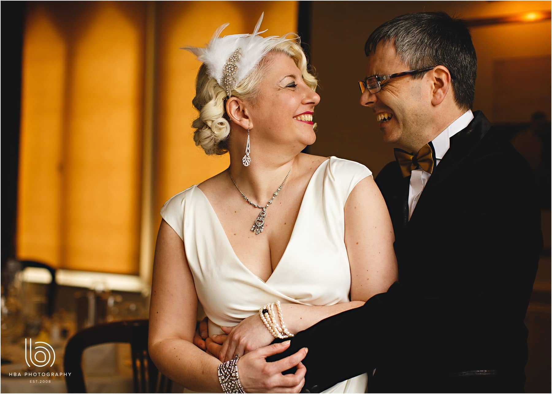 East Lodge wedding - the couple laughing