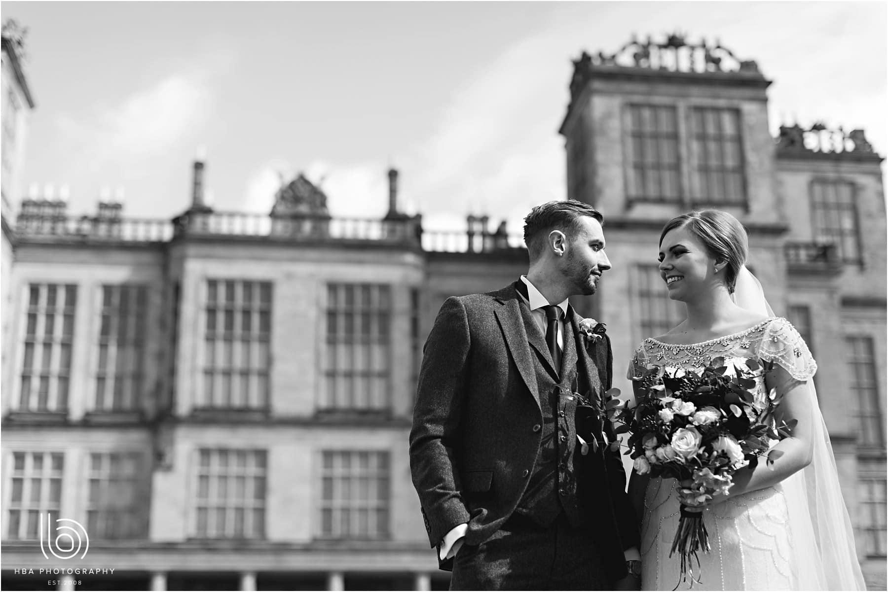 bride and groom outside Hardwick Hall