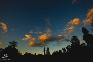 Osmaston Park wedding silhouette