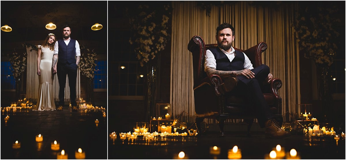 the groom sat in a chair surrounded by candles