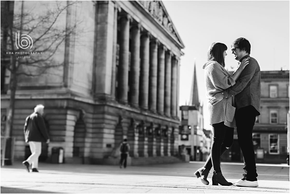 engaged couple in Nottingham city center