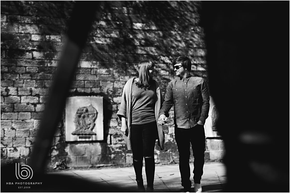 black and white photos in nottingham on an engagement shoot