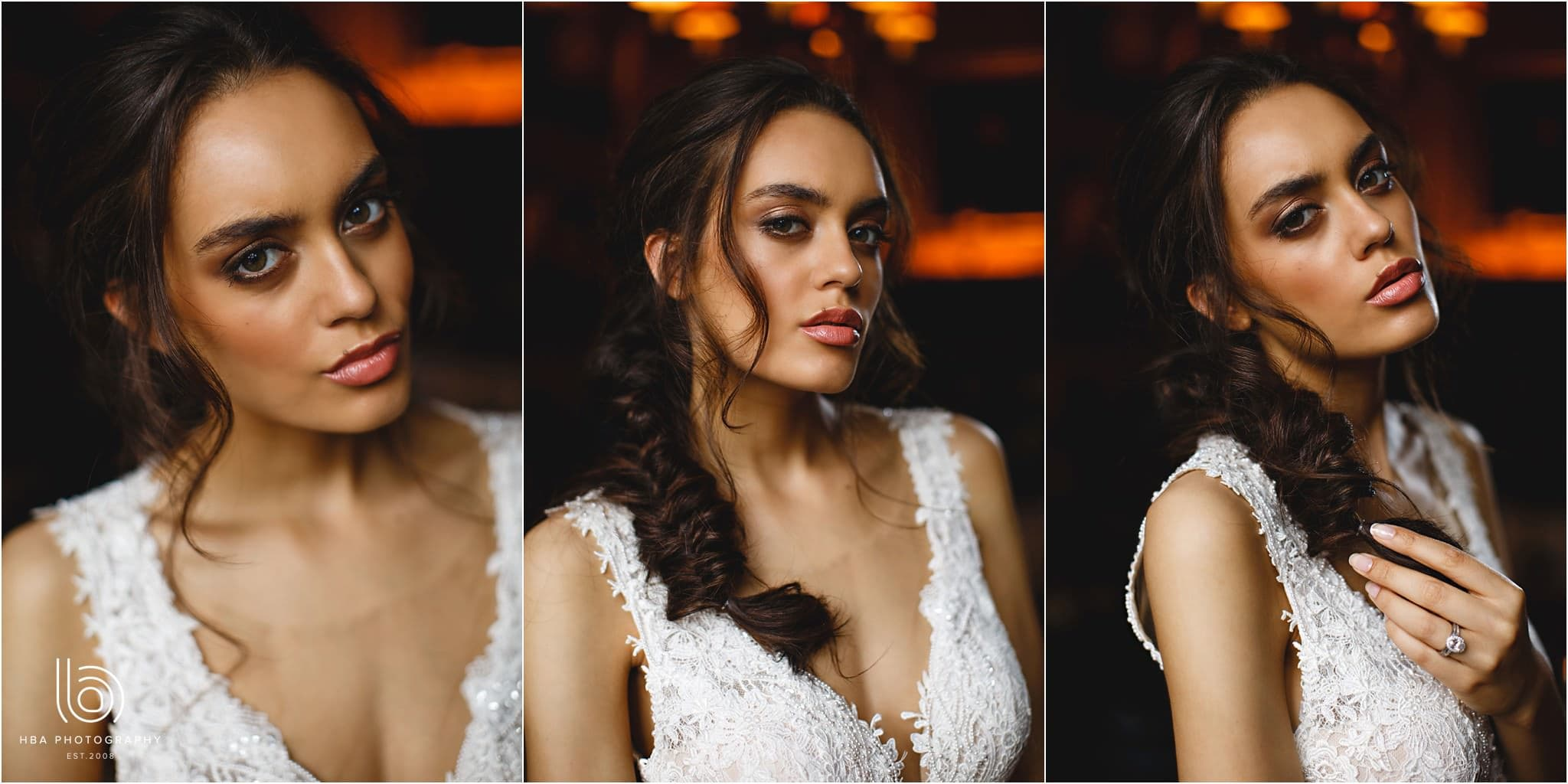 The bride look gorgeous with her hair and makeup