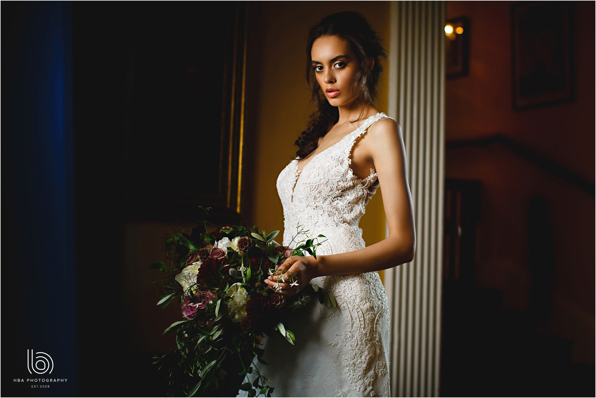 the bride stood in the hallway at Dorfold Hall