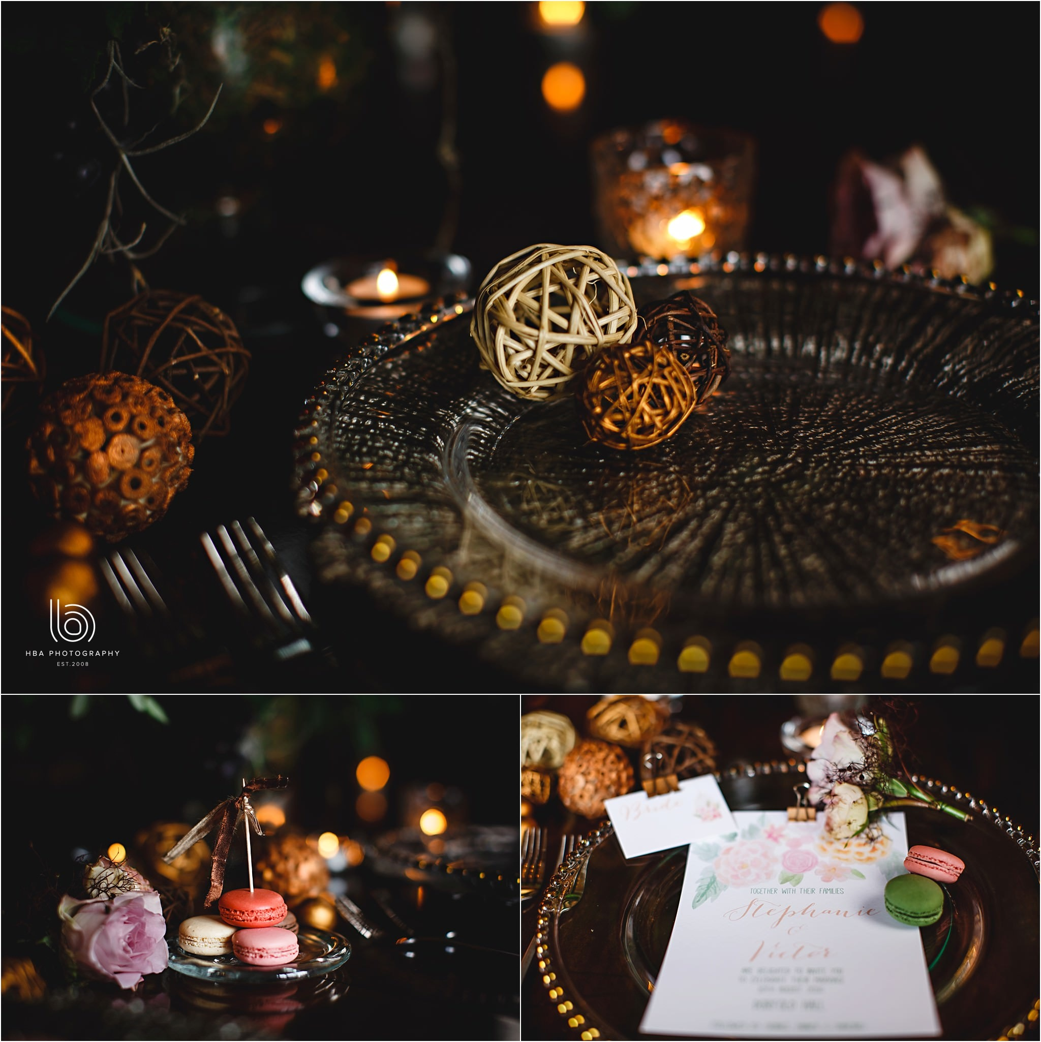the bronze table decorations