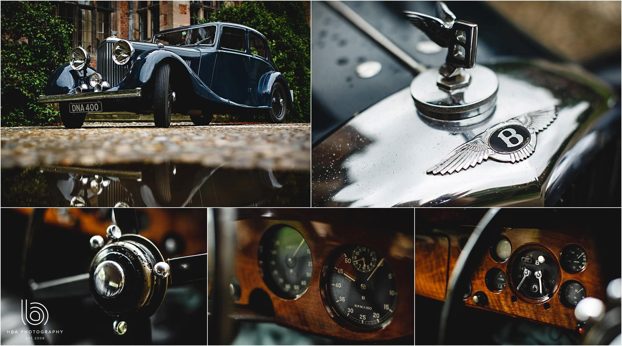 details of the old bentley wedding car outside Dorfold Hall in Cheshire