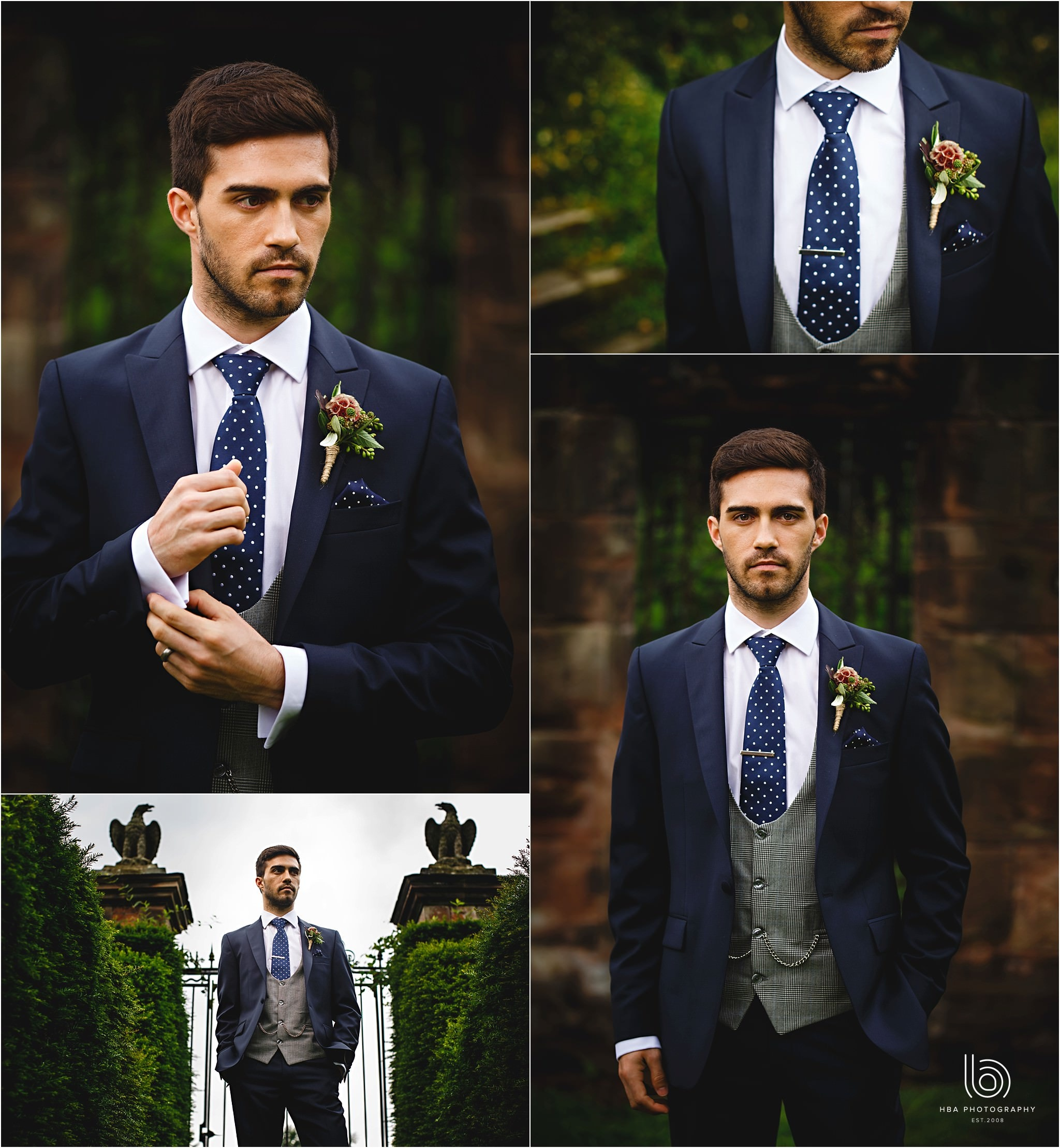 the groom looking amazing in his blue suit
