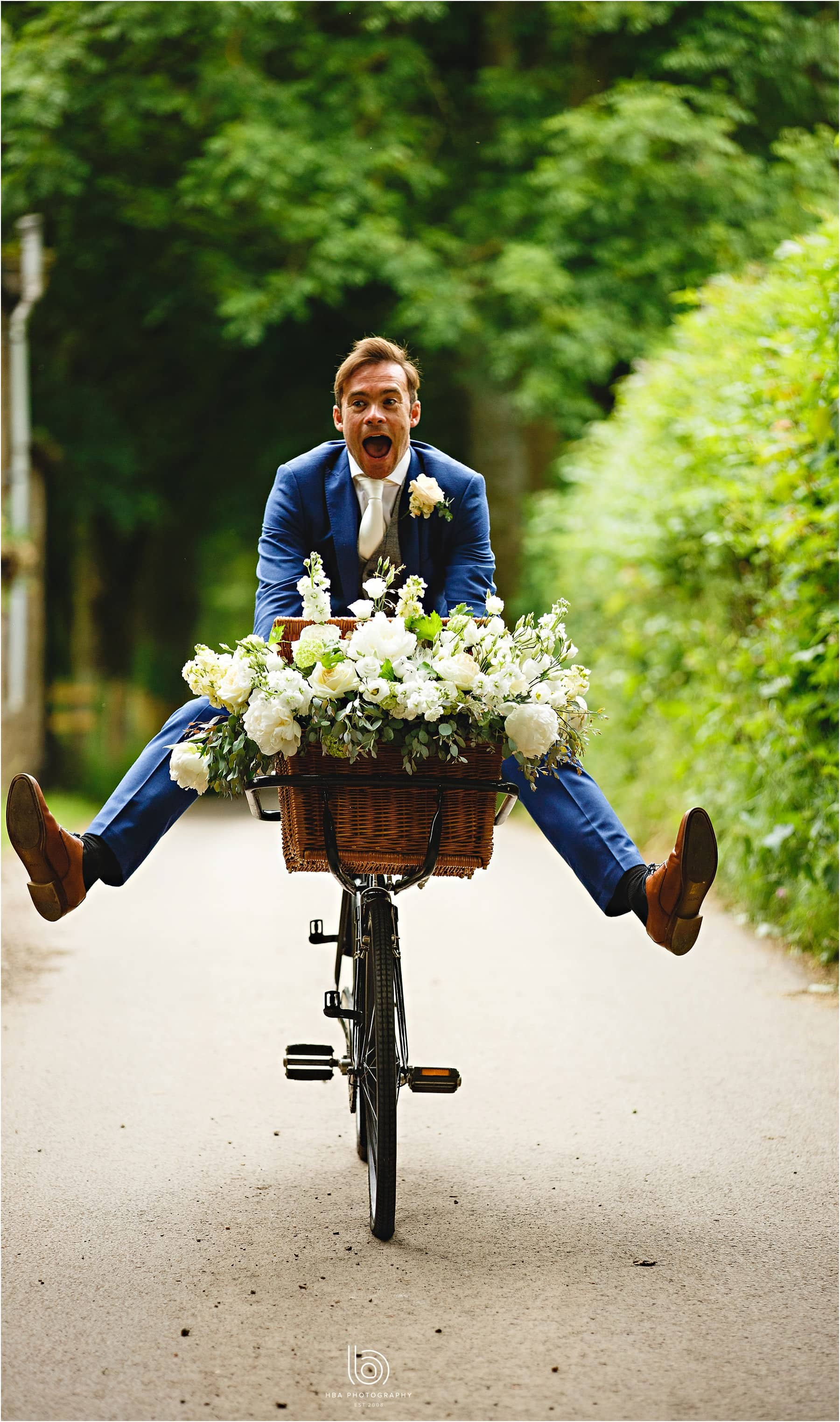 the groom riding his bike