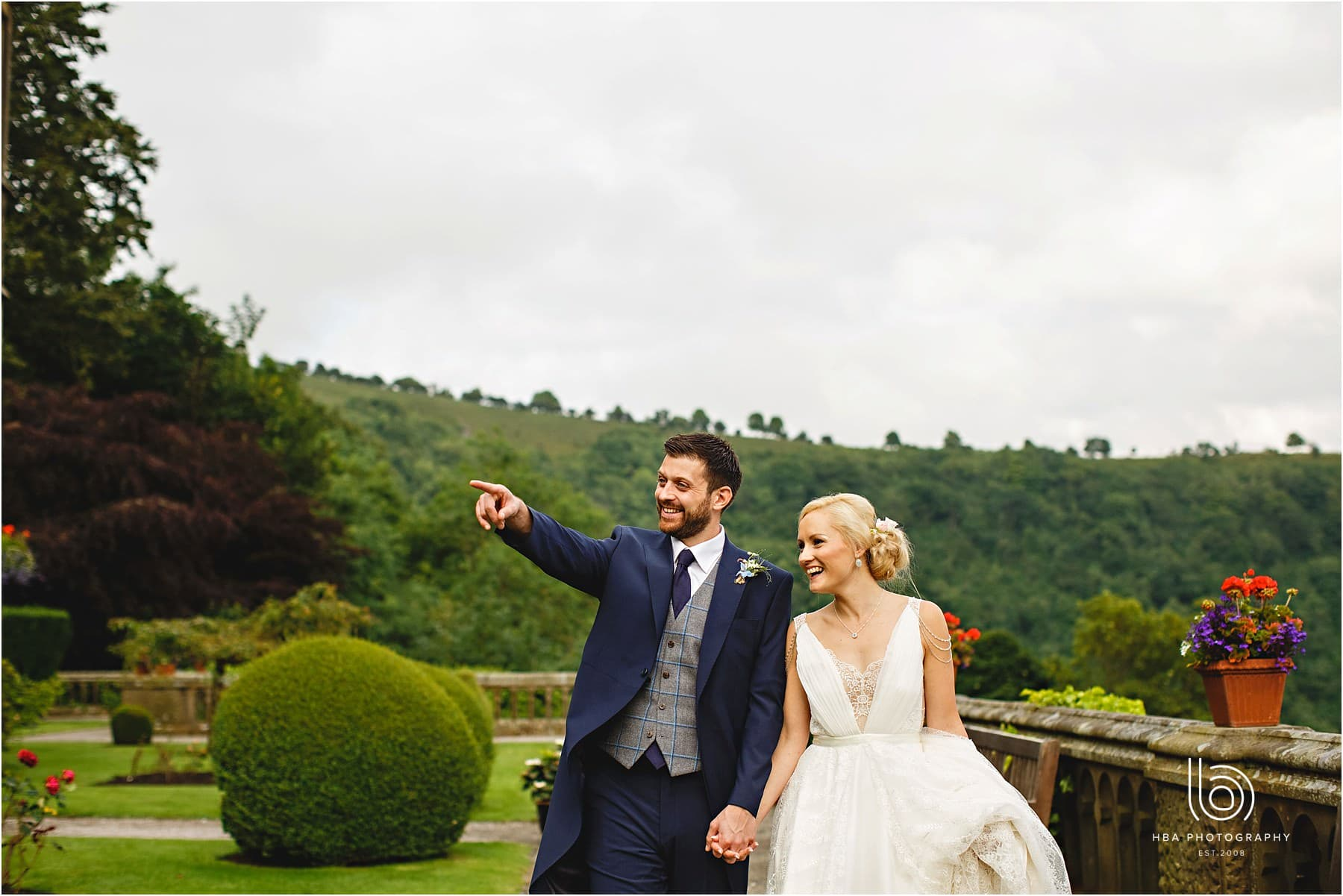 the bride & groom in the grounds of cressbrook hall