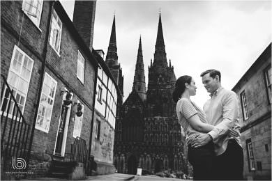 the couple with lichfield cathedral in the background
