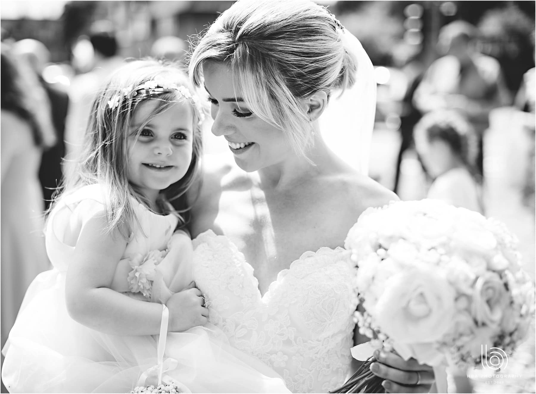the bride with their daughter