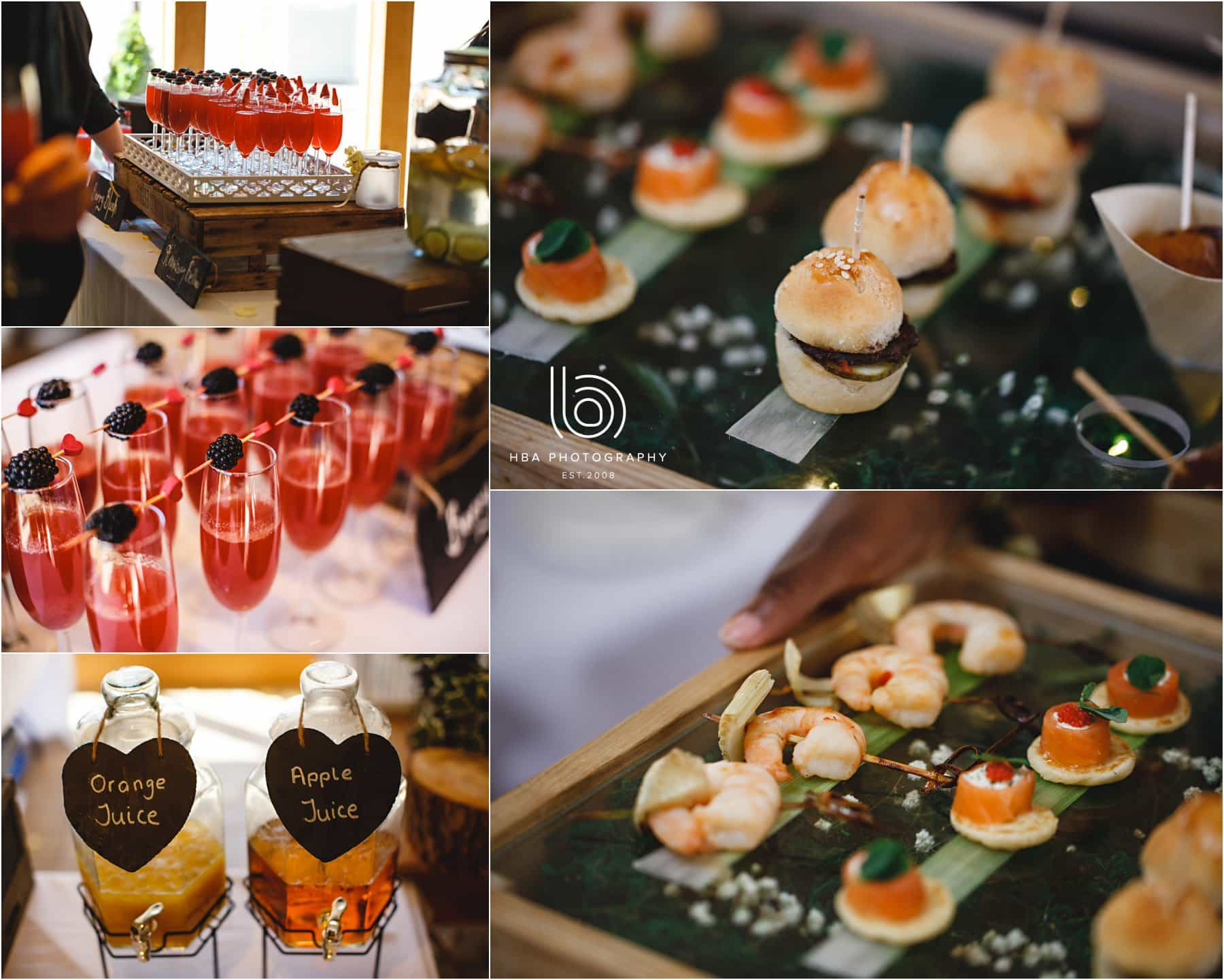 the canapes and drinks at the wedding