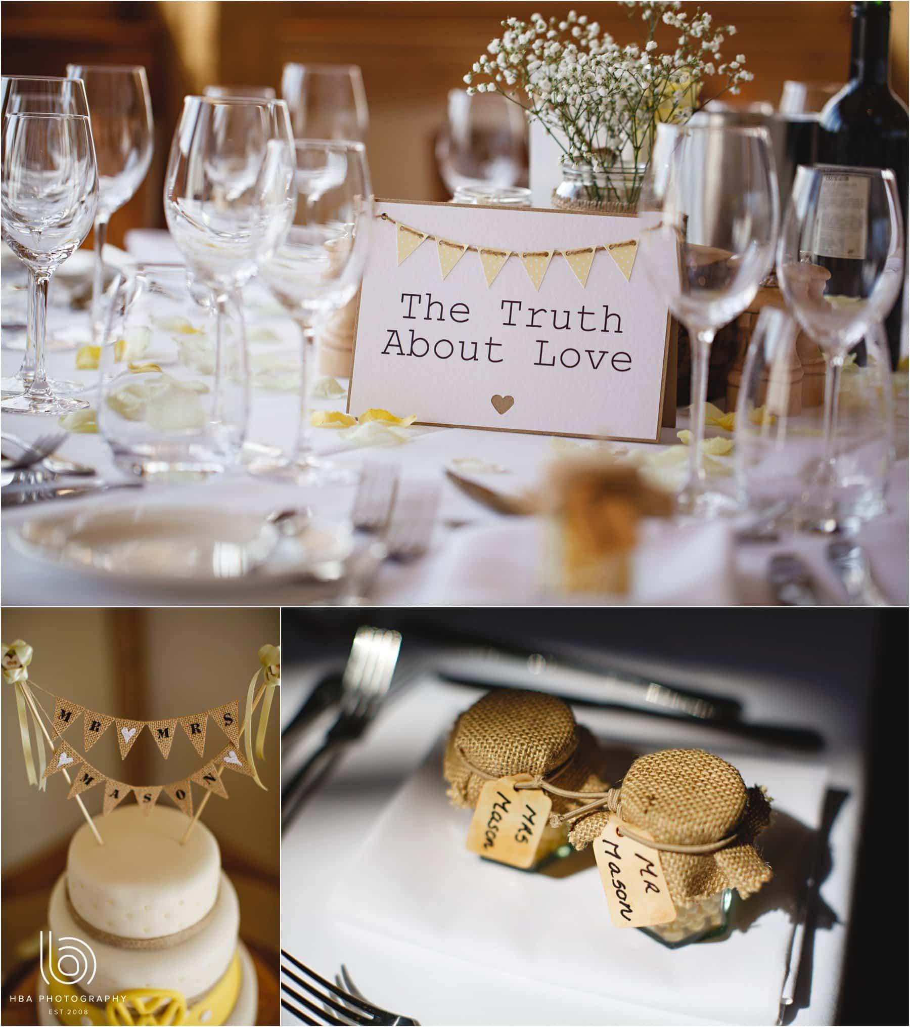 the wedding breakfast decorations