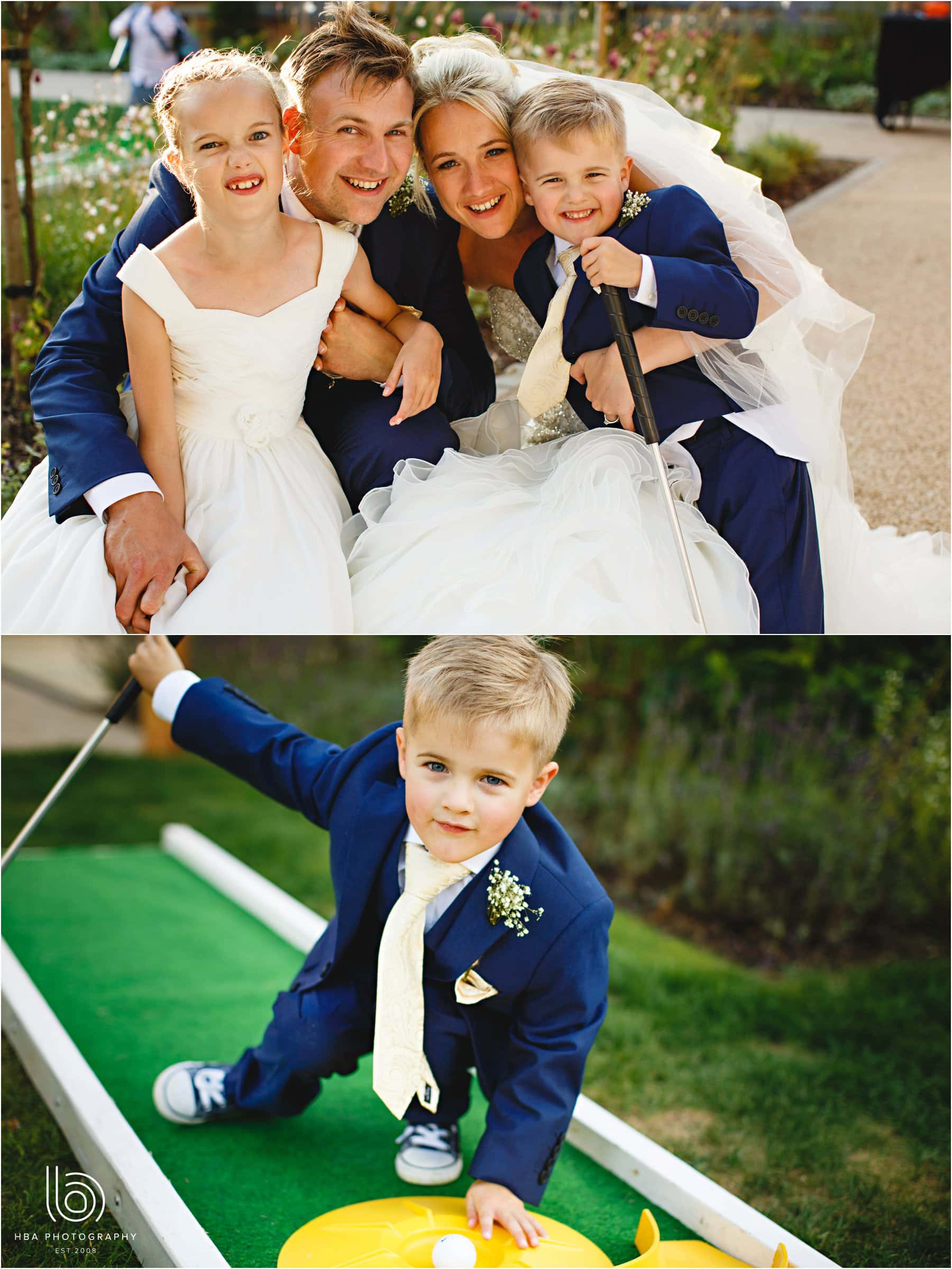 the bride & Groom with their children