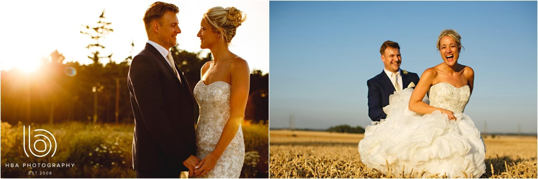 the bride & Groom in a corn field