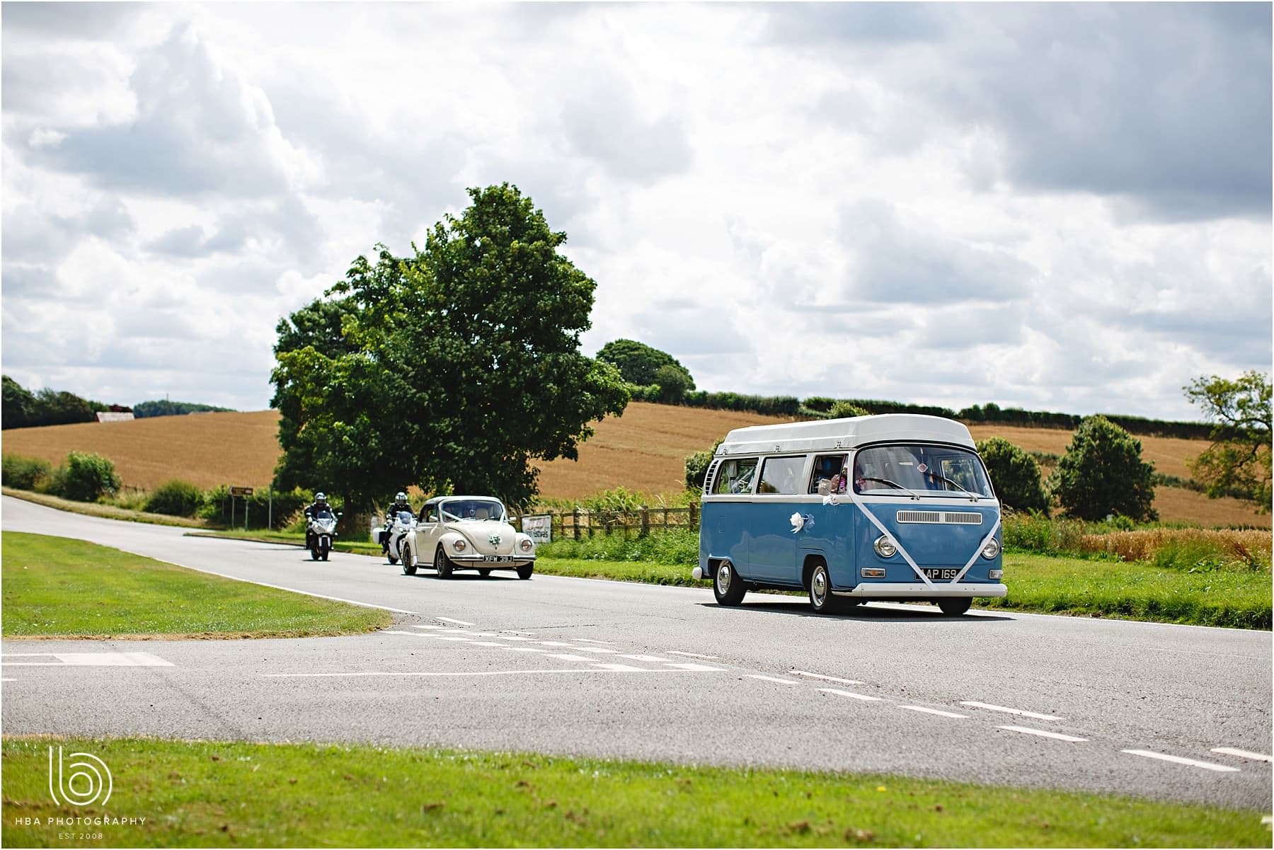 the VW camper arriving at the wedding