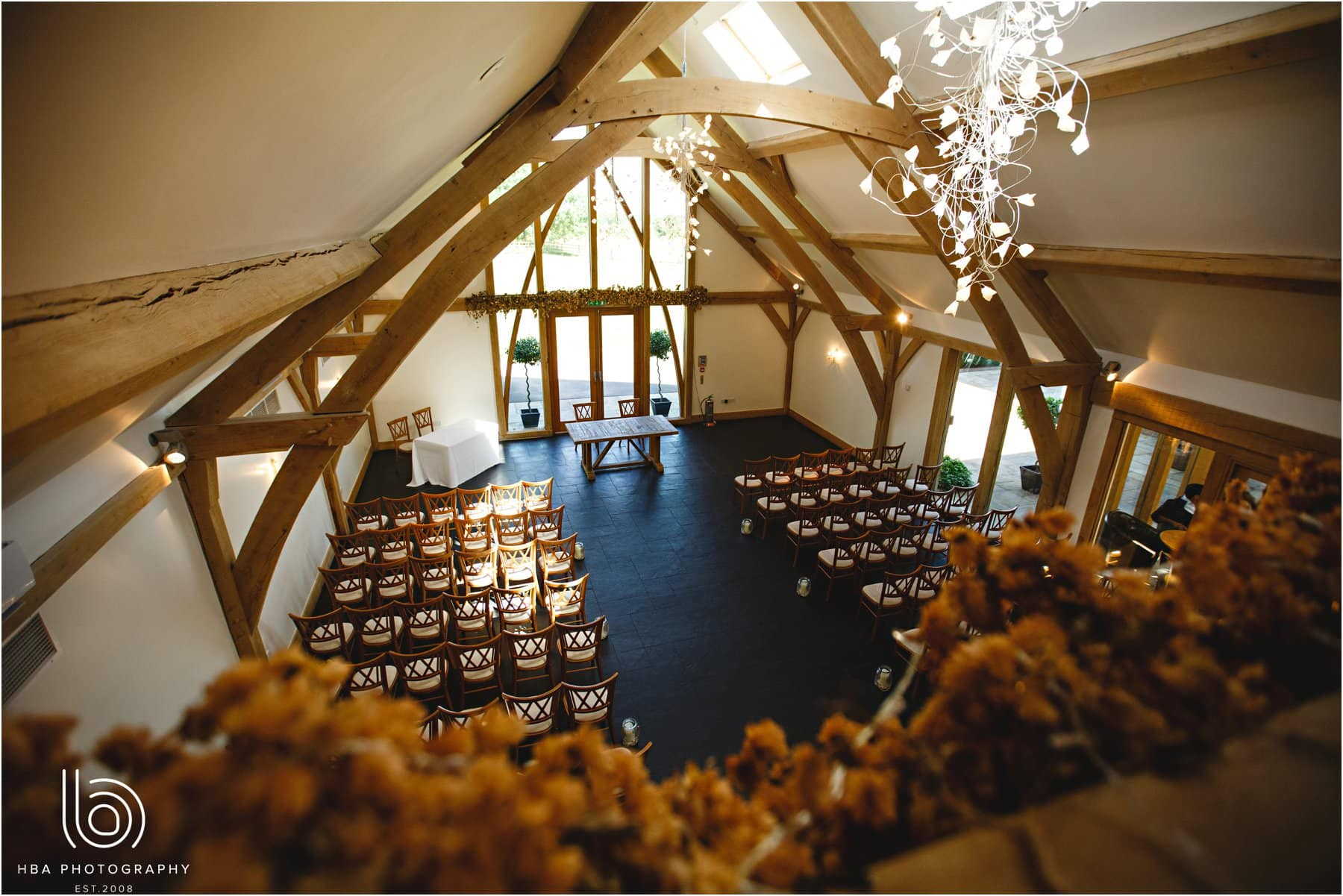 the cermeony room at Mythe Barn