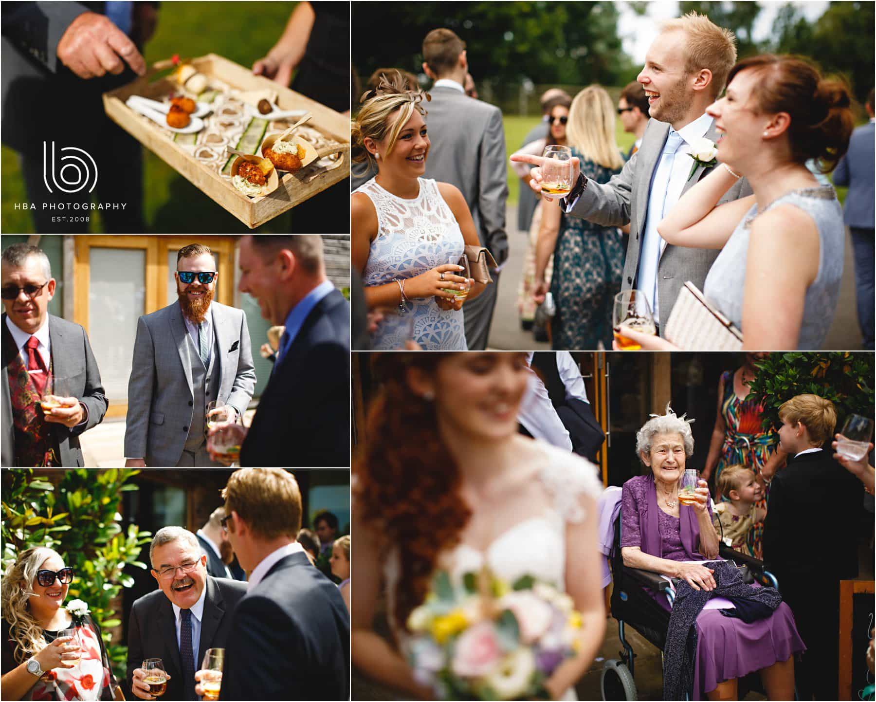 the wedding guests at a mythe barn wedding