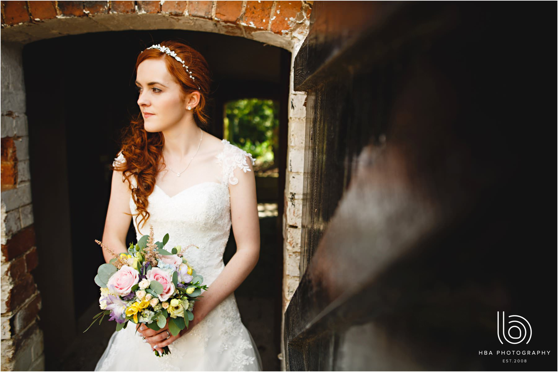 the bride at the house at Mythe Barn