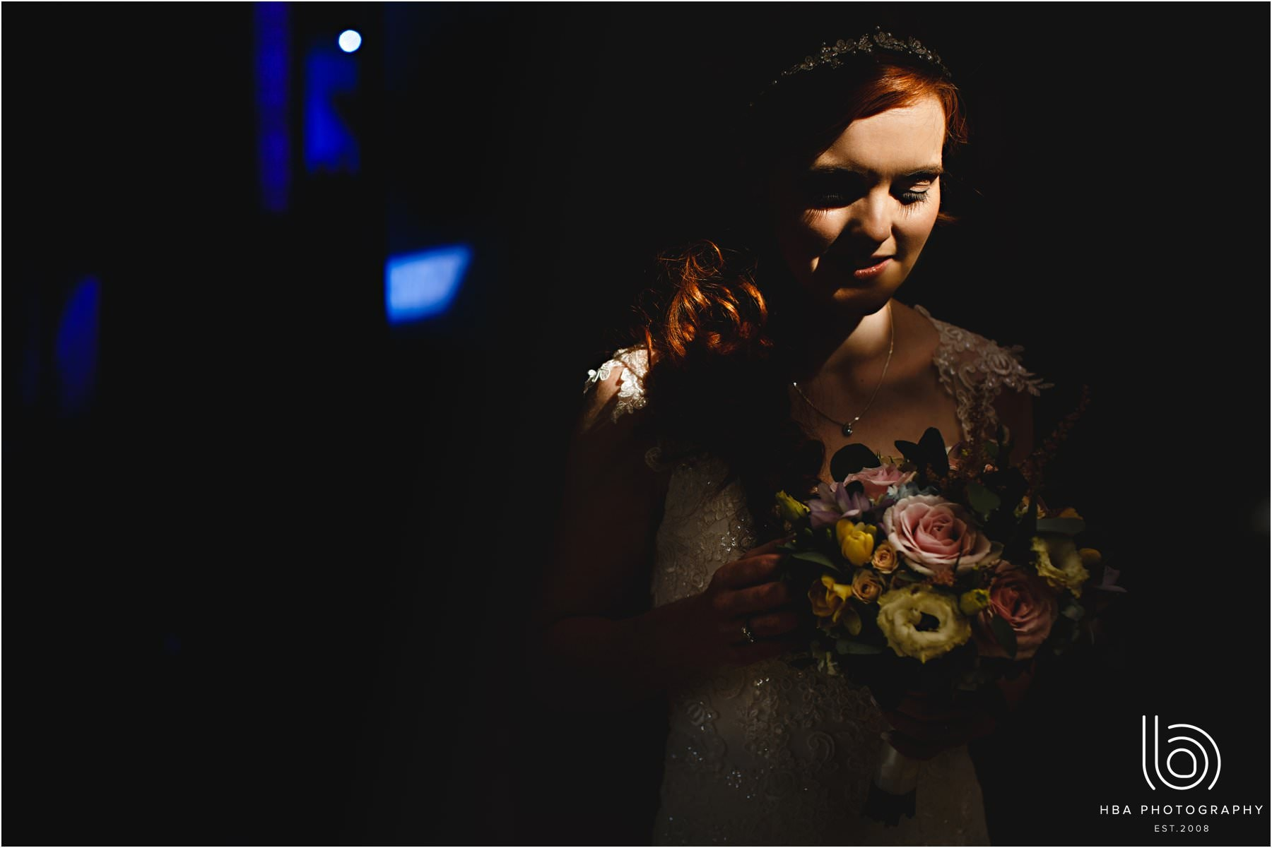 the bride in a shaft of light