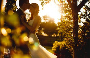the bride & groom in the golden hour