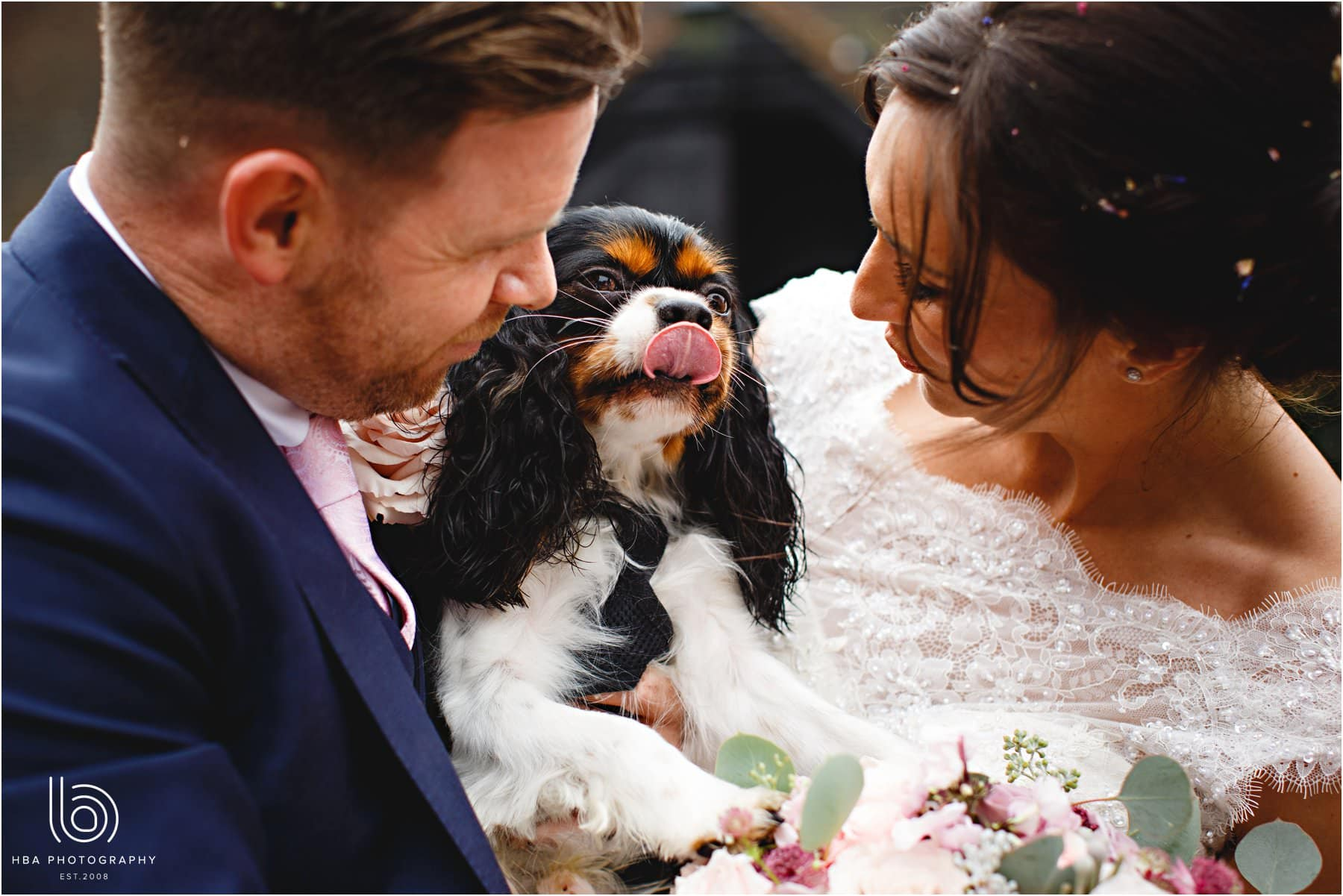 the bride and groom with their dog