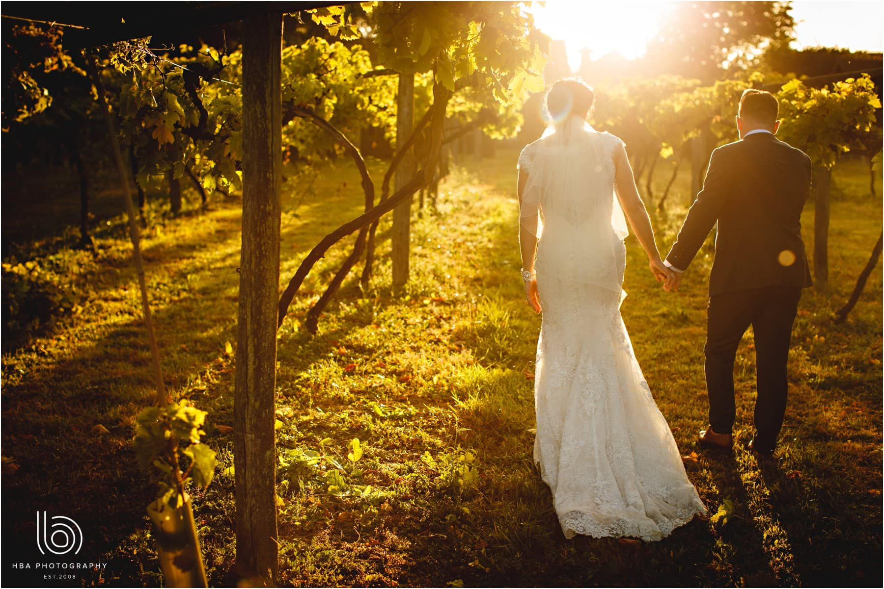 the bride and groom at golden hour