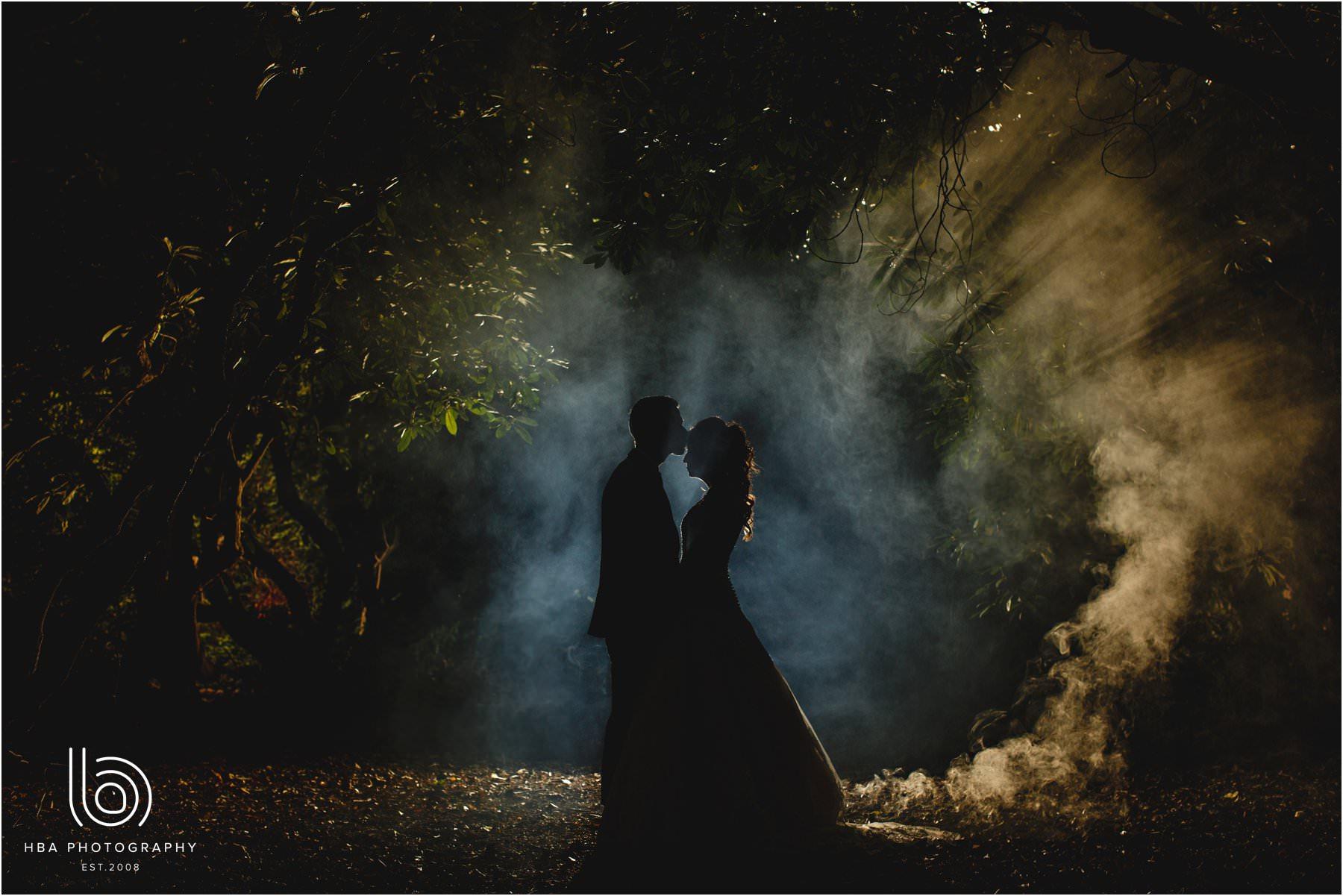 The bride & groom is smokey woods