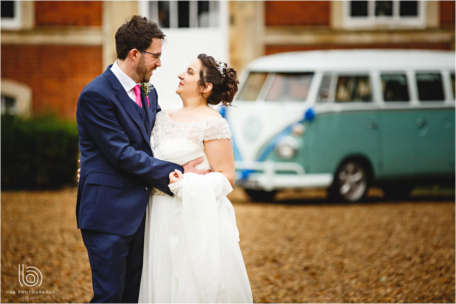 the bride & groom and their camper van