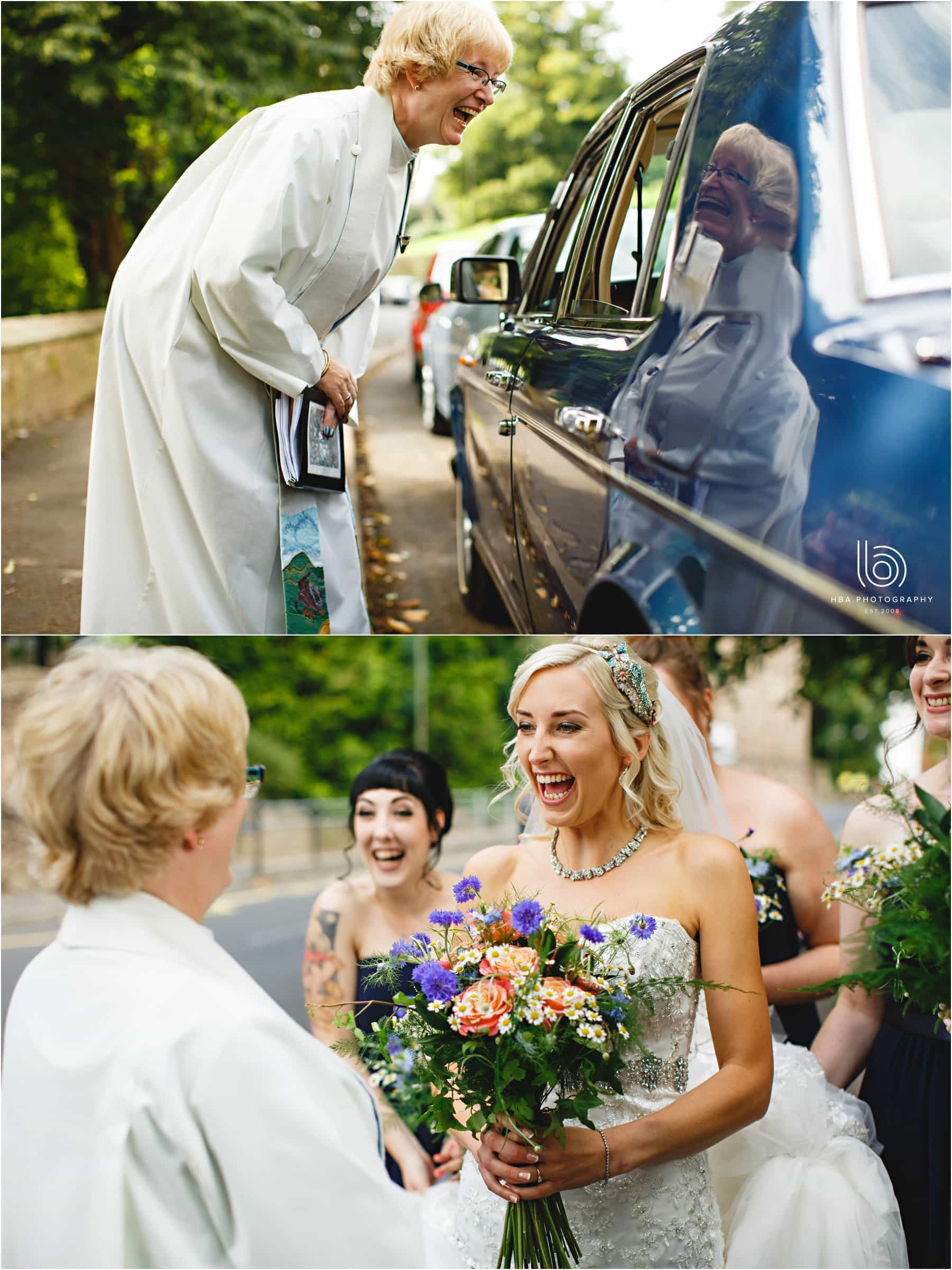 the bride arriving at the church