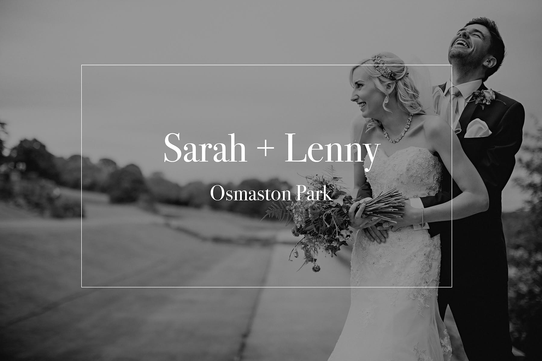 The bride and groom in black and white stood laughing at Osmaston Park in Derbyshire