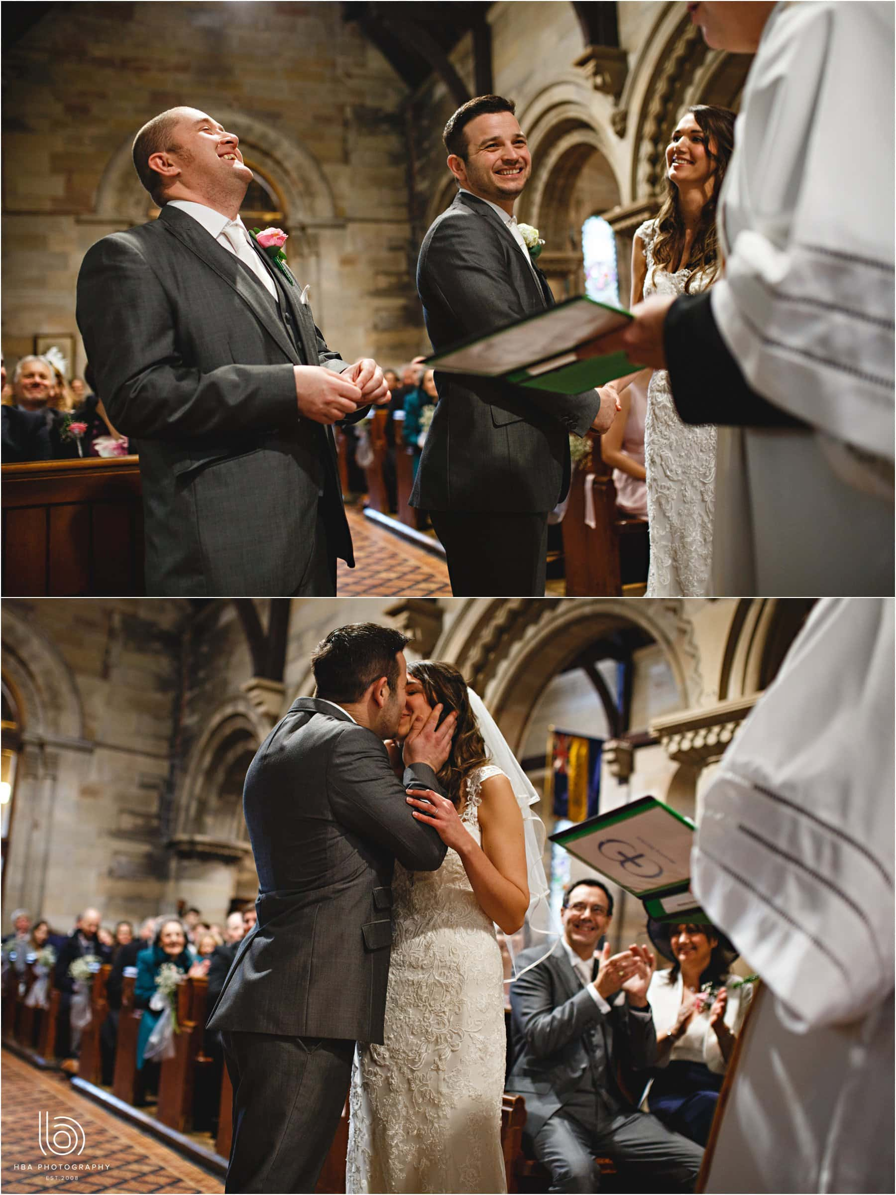the wedding ceremony and first kiss
