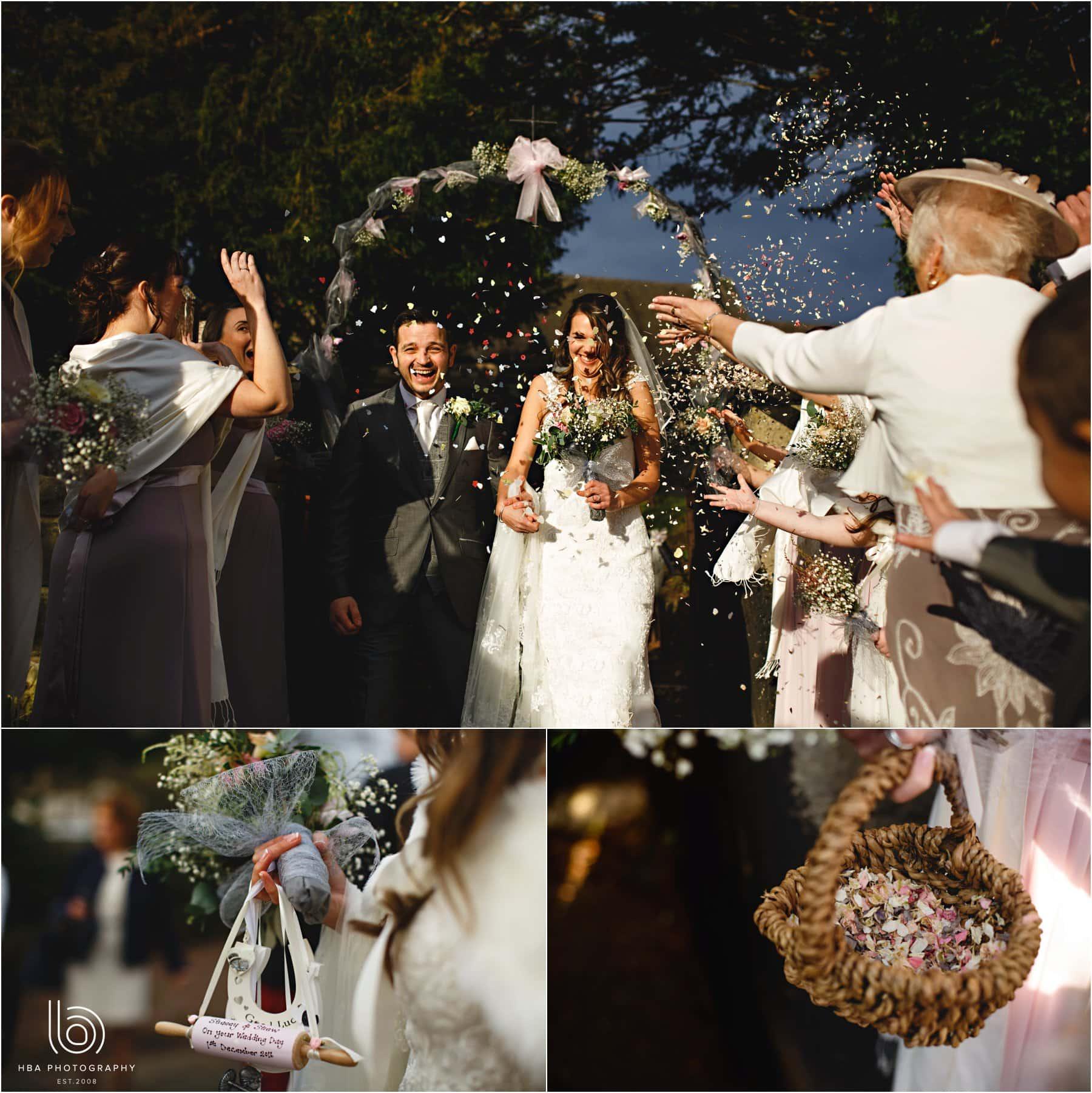 the bride & groom getting covered in confetti