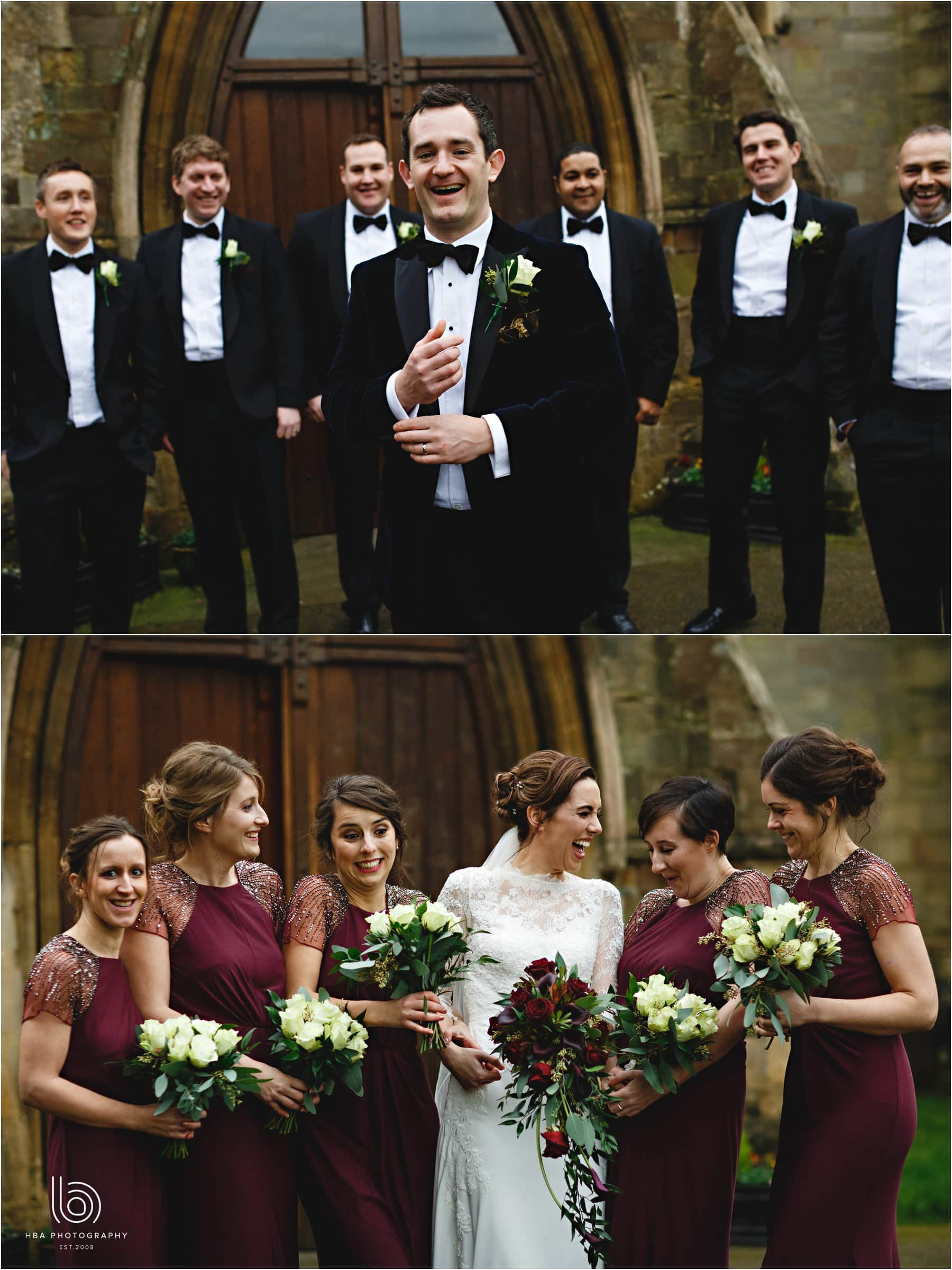 the bride and groom and the bridal party