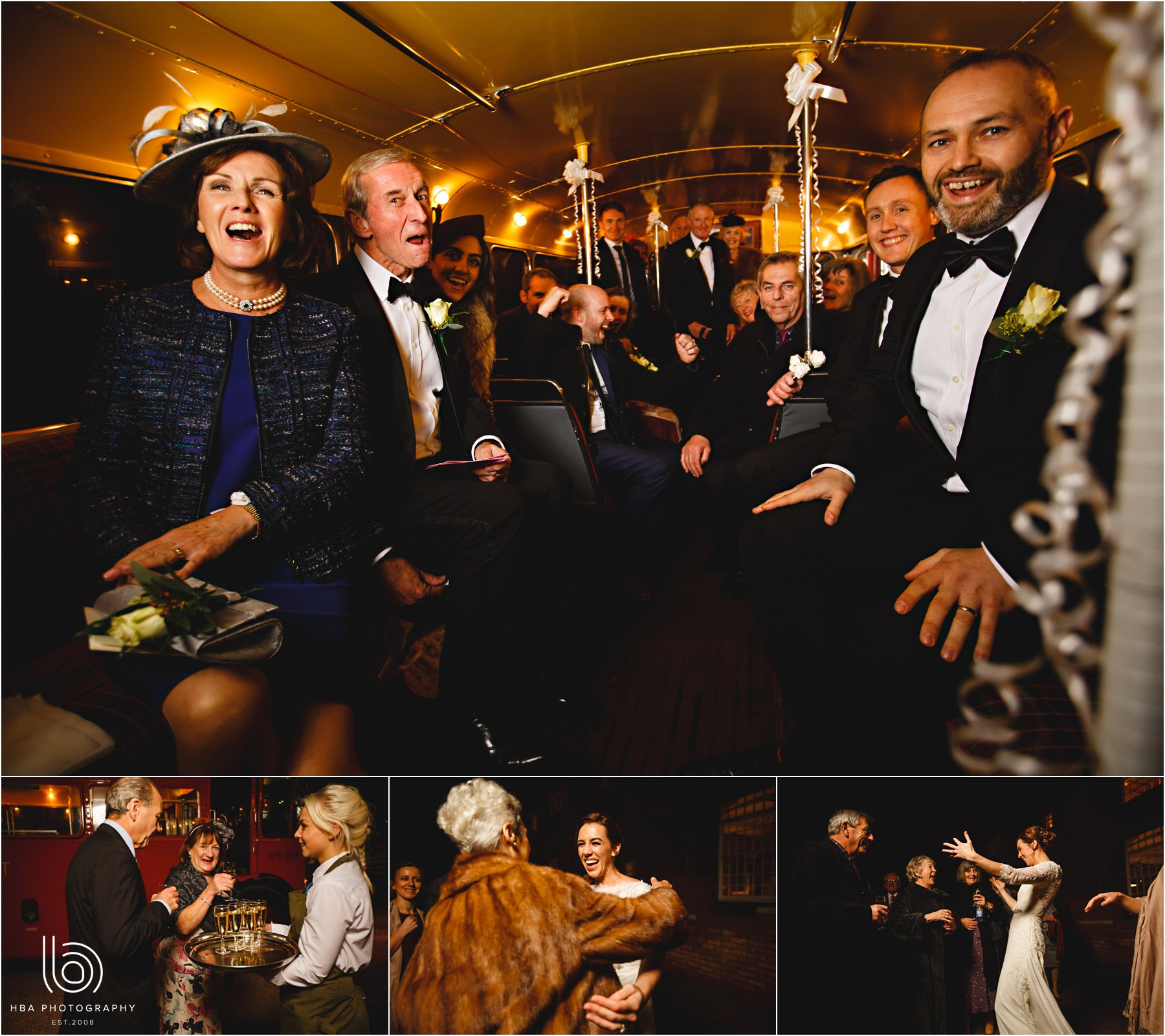 the wedding guests on the bus