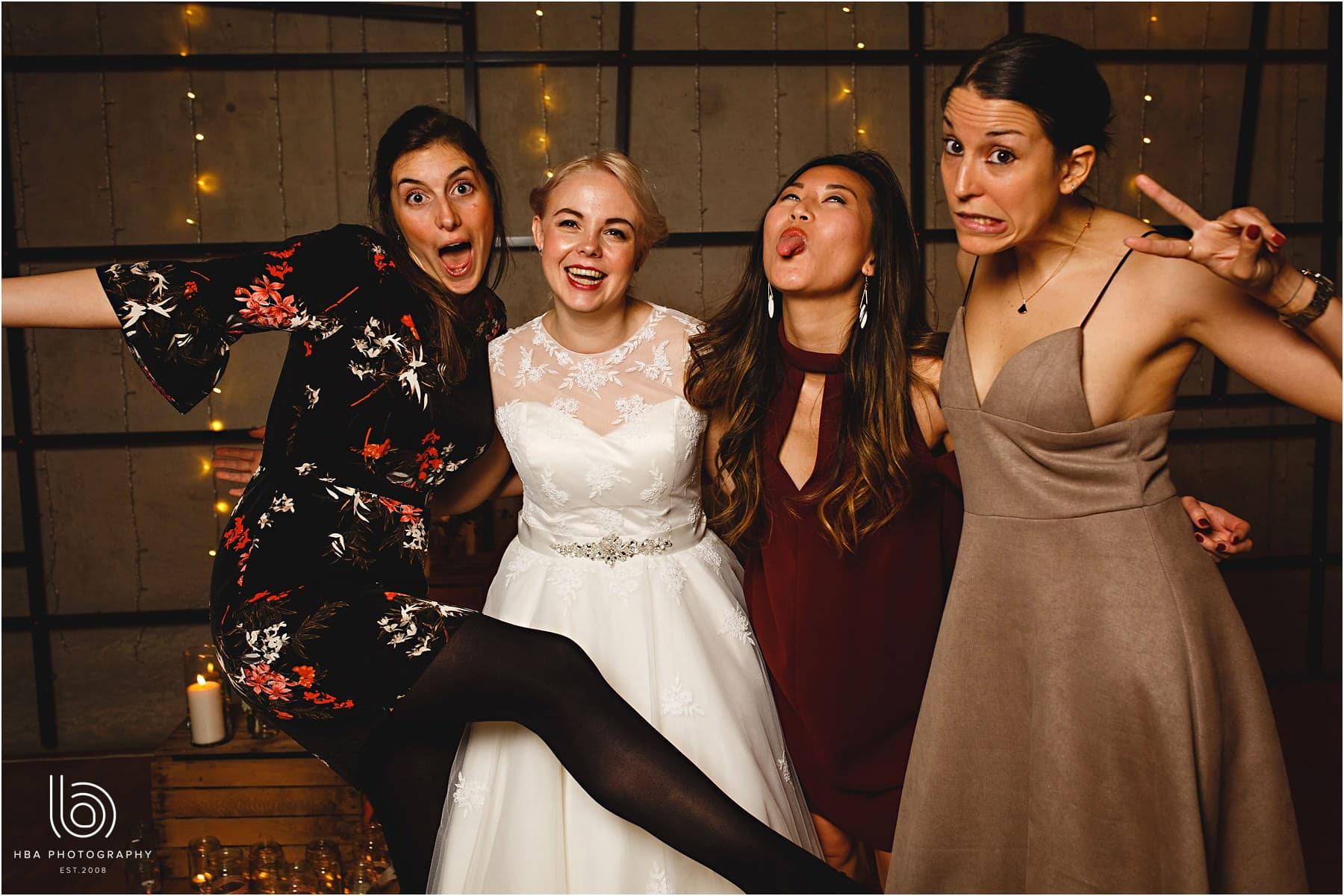 The bride and her friends together