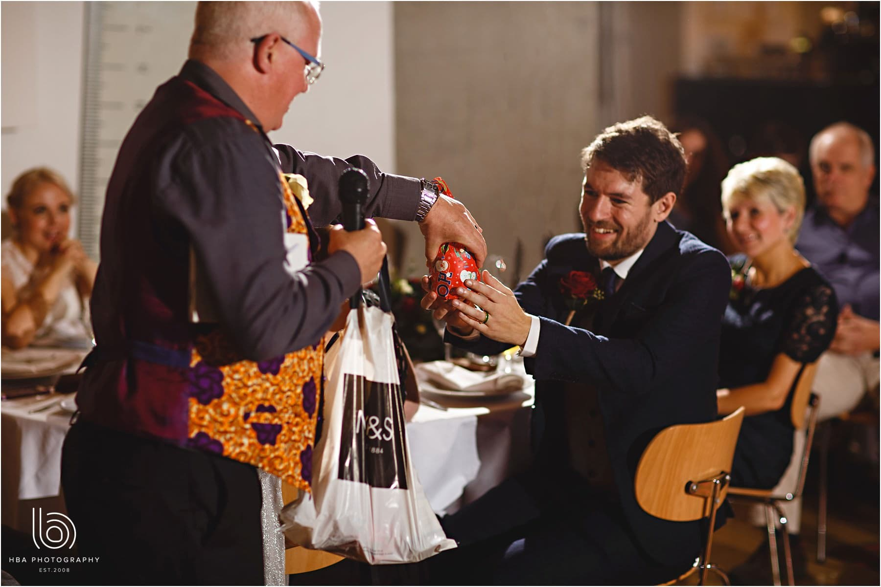 Gifts during the wedding speeches