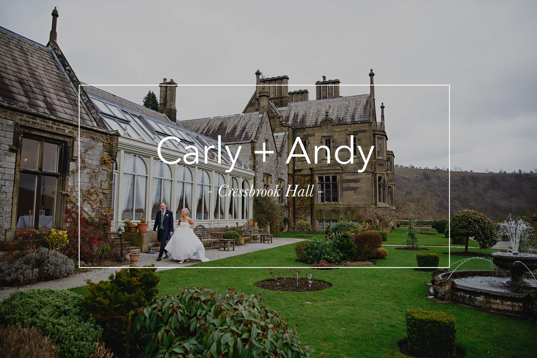 the bride and groom walking in the gardens of Cressbrook Hall in Derbyshire